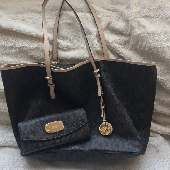 Michael Kors Handbags - Michael Kors monogrammed tote and wallet.